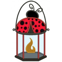 Ladybug Lantern Camping Lamp Applique Machine Embroidery Design Digitized Pattern