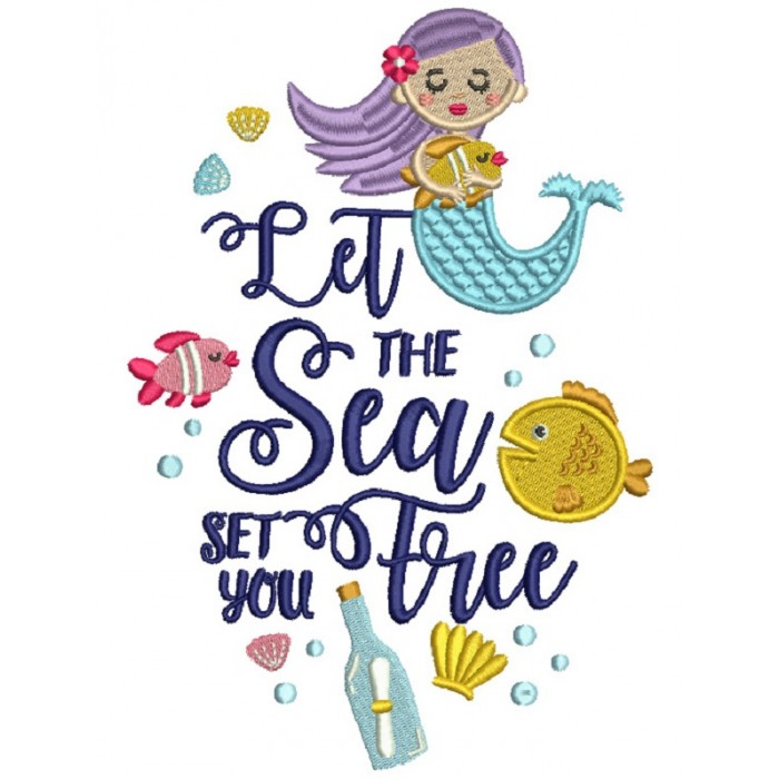 Let The Sea Set You Free Mermaid Filled Machine Embroidery Design Digitized Pattern