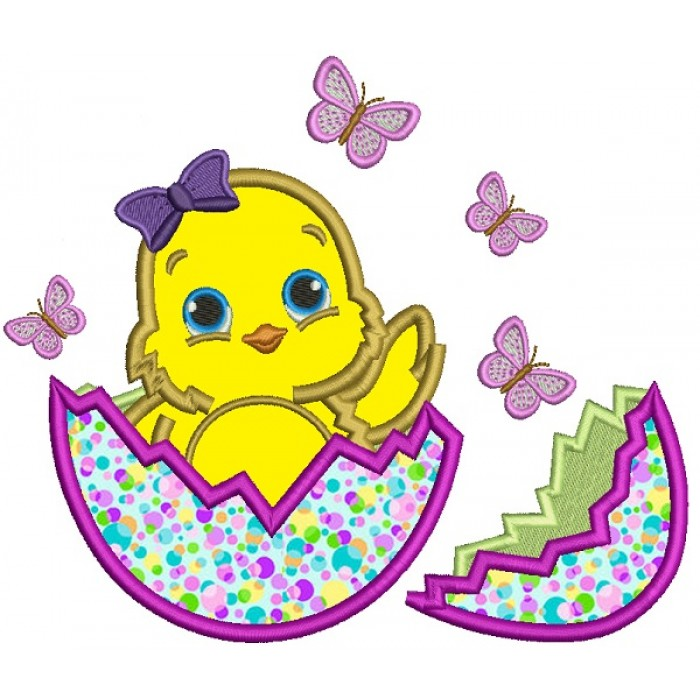 Little Baby Chick Baby Girl Hatching From The Egg Easter Applique