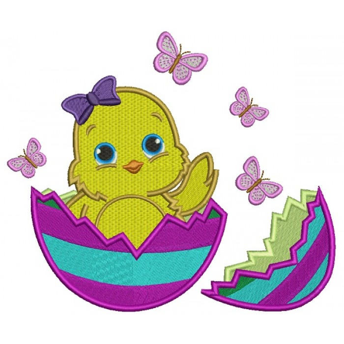 Little Baby Chick Baby Girl Hatching from the Egg Easter Filled Machine Embroidery Design Digitized Pattern