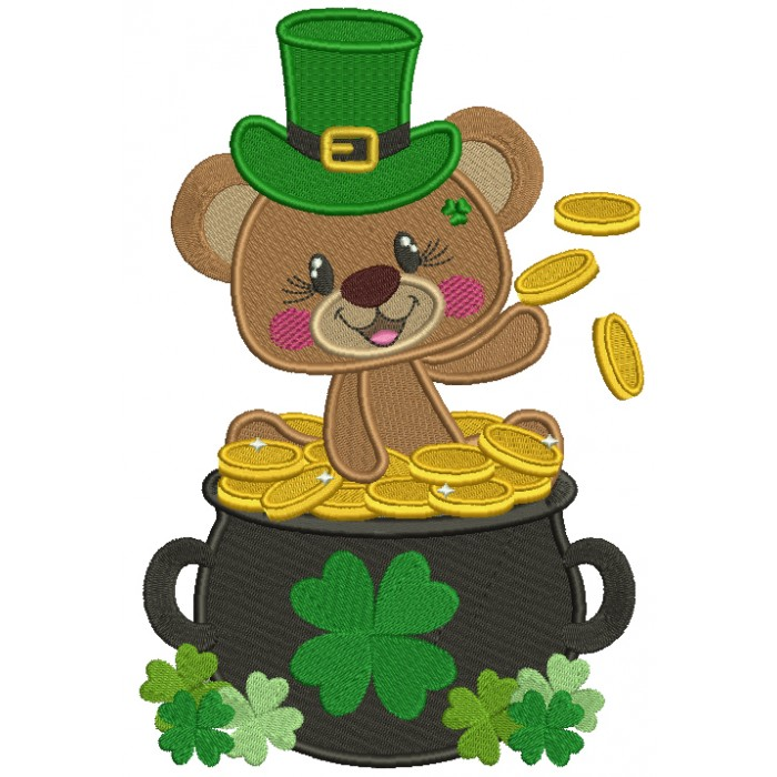 Little Bear Sitting In The Pot Full Of Gold St. Patrick's Filled Machine Embroidery Design Digitized Pattern