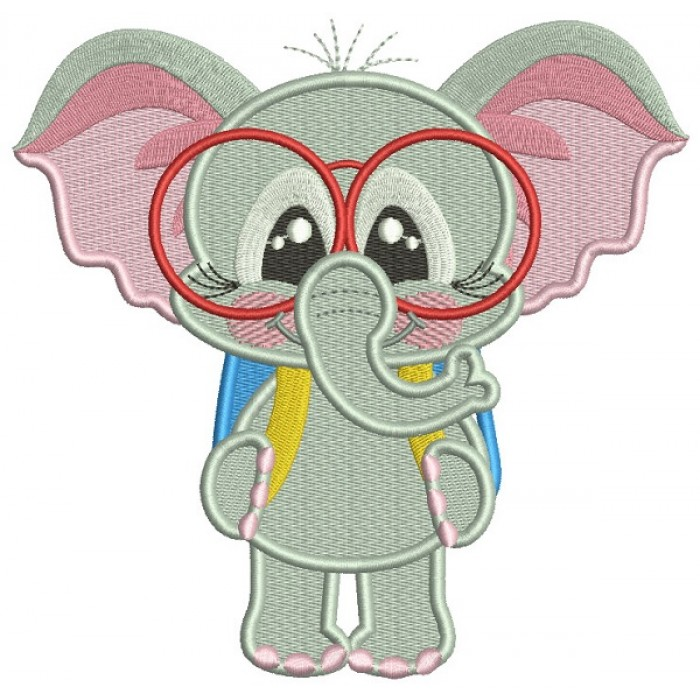 Little Elephant Goes To School Filled Machine Embroidery Design Digitized Pattern