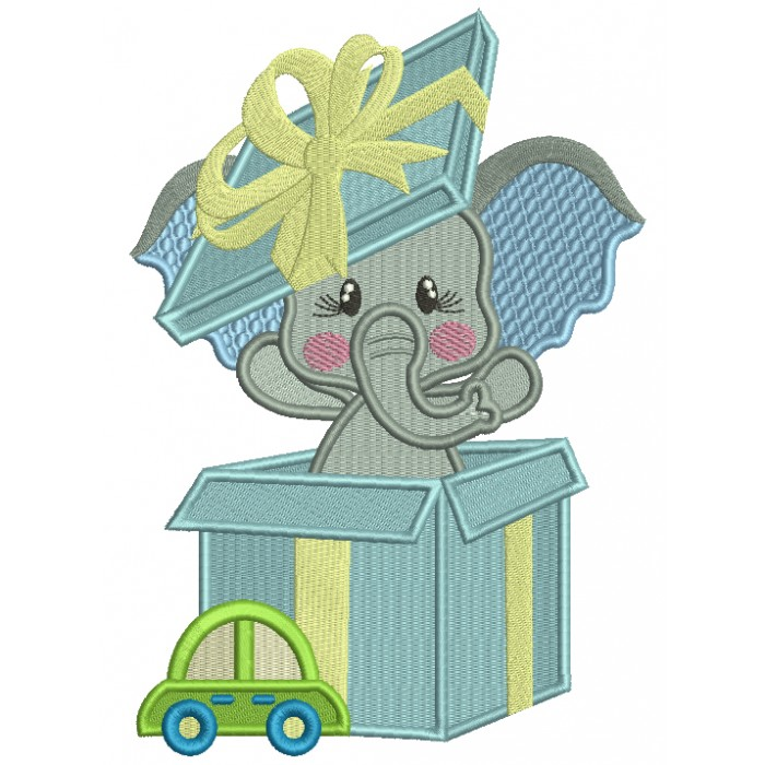 Little Elephant Inside a Gift Box Filled Machine Embroidery Design Digitized Pattern