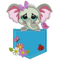 Little Elephant Sitting Inside a Pocket With Ladybug and Flowers Applique Machine Embroidery Design Digitized Pattern