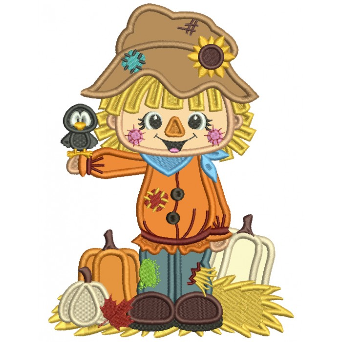 Little Farm Boy With Pumpkins Holding a Crow Thanksgiving Applique Machine Embroidery Design Digitized Pattern