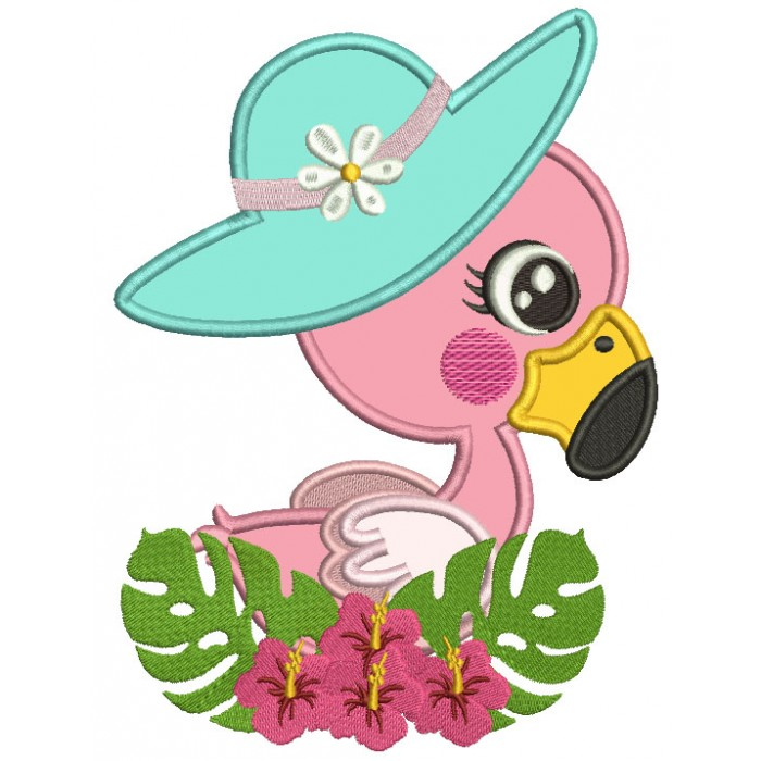 Little Flamingo Wearing a Big Hat Applique Machine Embroidery Design Digitized Pattern
