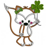 Little Fox Holding Shamrock Applique St. Patrick's Day Machine Embroidery Design Digitized Pattern