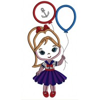 Little Girl Holding Two Balloons Applique Machine Embroidery Design Digitized Pattern