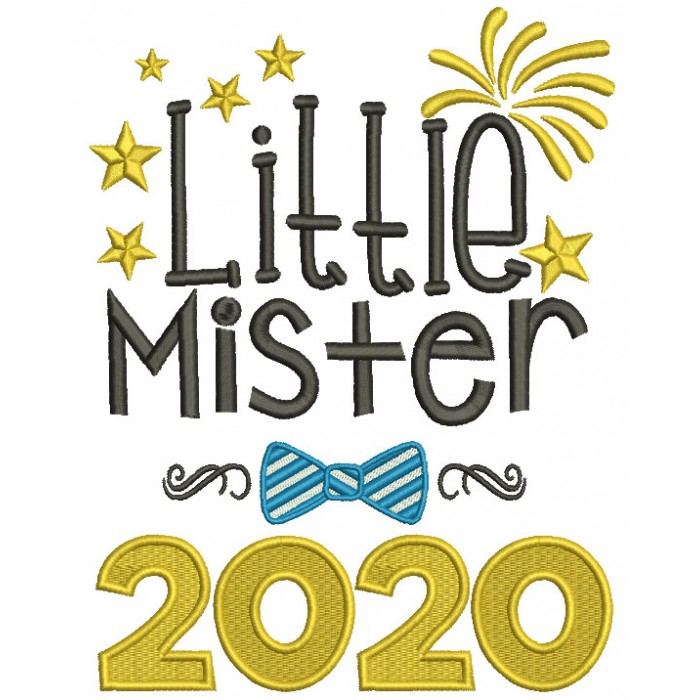 Little Mister 2000 New Year Filled Machine Embroidery Design Digitized Pattern