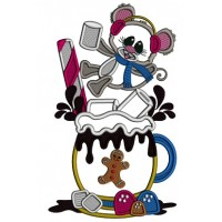 Little Mouse On the Cup Of Cocoa Cup Applique Christmas Machine Embroidery Design Digitized Pattern