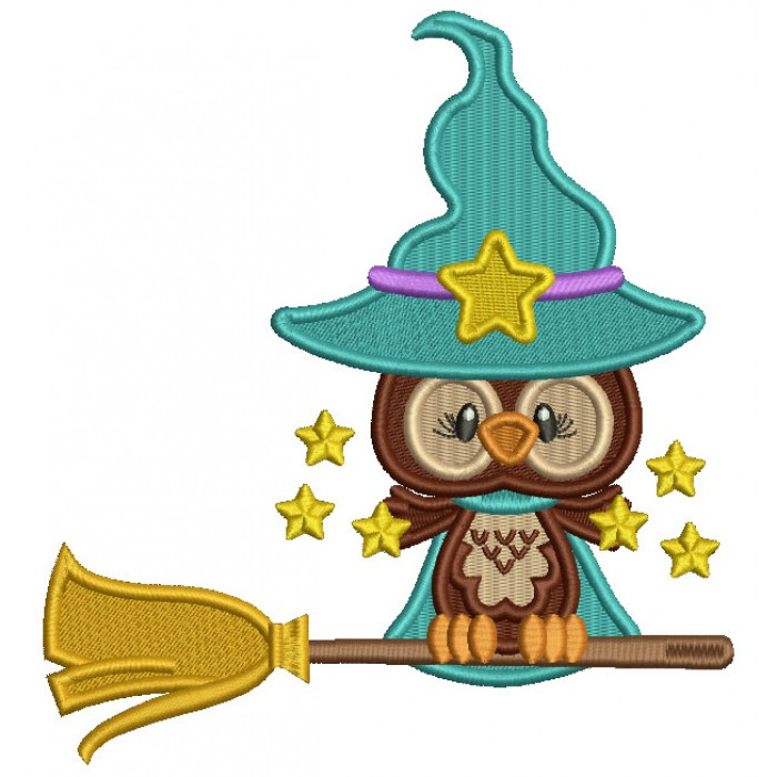 Little Owl Wizard On The Broom With Stars Filled Halloween Machine Embroidery Design Digitized Pattern