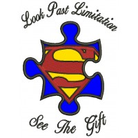 Look Past Limitation See The Gift Autism Awareness Applique Machine Embroidery Design Digitized Pattern