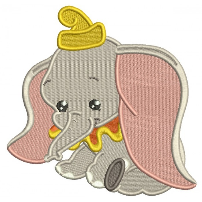 Looks Like Dumbo The Elephant Filled Machine Embroidery Design Digitized Pattern
