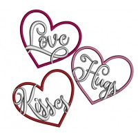 Love Hugs Kisses Hearts Applique Machine Embroidery Design Digitized Pattern