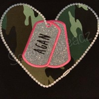 Love Military Heart Applique (Dog Tags) Machine Embroidery Digitized Design  Pattern  - Instant Download - 4x4 , 5x7, and 6x10 -hoops