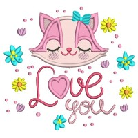 Love You Girl Racoon Applique Machine Embroidery Design Digitized Pattern