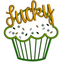 Lucky Cupcake Applique St. Patrick's Day Machine Embroidery Design Digitized Pattern