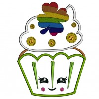 Lucky Cupcake St. Patrick's Applique Machine Embroidery Design Digitized