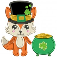 Lucky Fox With Big Hat Next to Pot Of Gold St. Patrick's Day Applique Machine Embroidery Design Digitized Pattern