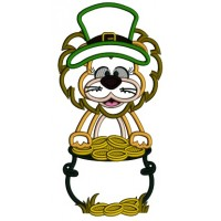 Lucky Lion With A Pot Of Gold St. Patrick's Applique Machine Embroidery Design Digitized Pattern
