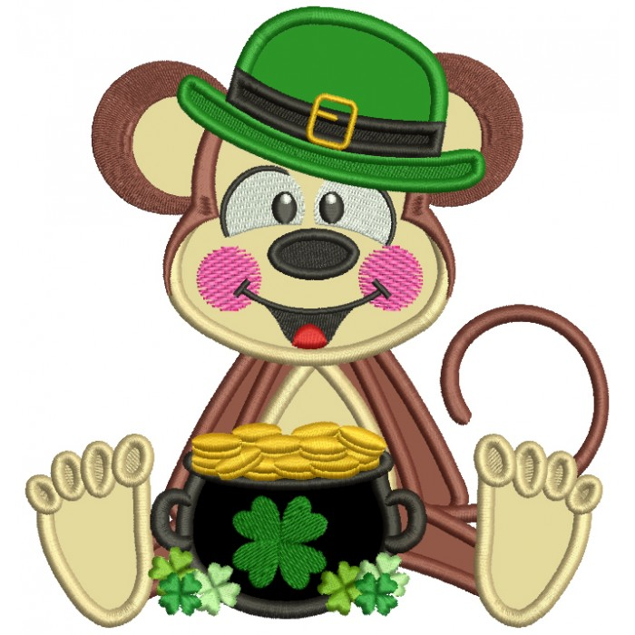 Lucky Monkey With a Pot Of Gold St. Patrick's Applique Machine Embroidery Design Digitized