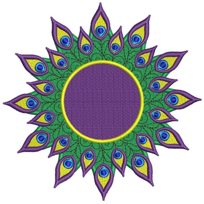 Mardi Gras Peacock Feathers Filled Machine Embroidery Design Digitized Pattern