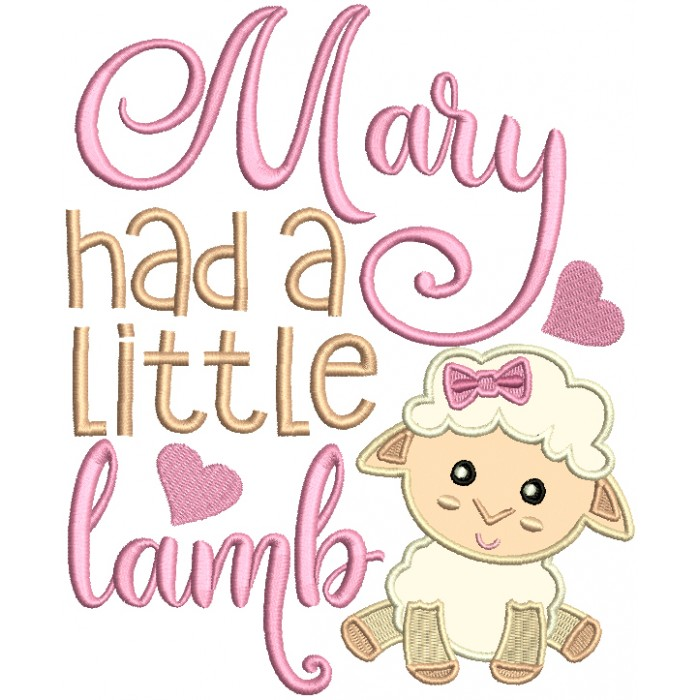 Marry Had a Little Lamb Applique Machine Embroidery Design Digitized Pattern