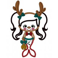 Mermaid With Deer Antlers Applique Christmas Machine Embroidery Design Digitized Pattern