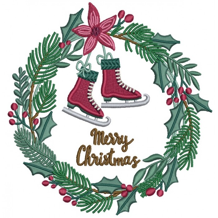 Merry Christmas Ice Skates Wreath Filled Machine Embroidery Design Digitized Pattern