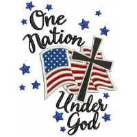 One Nation Under God American Flag With Cross Patriotic Applique Machine Embroidery Design Digitized Pattern