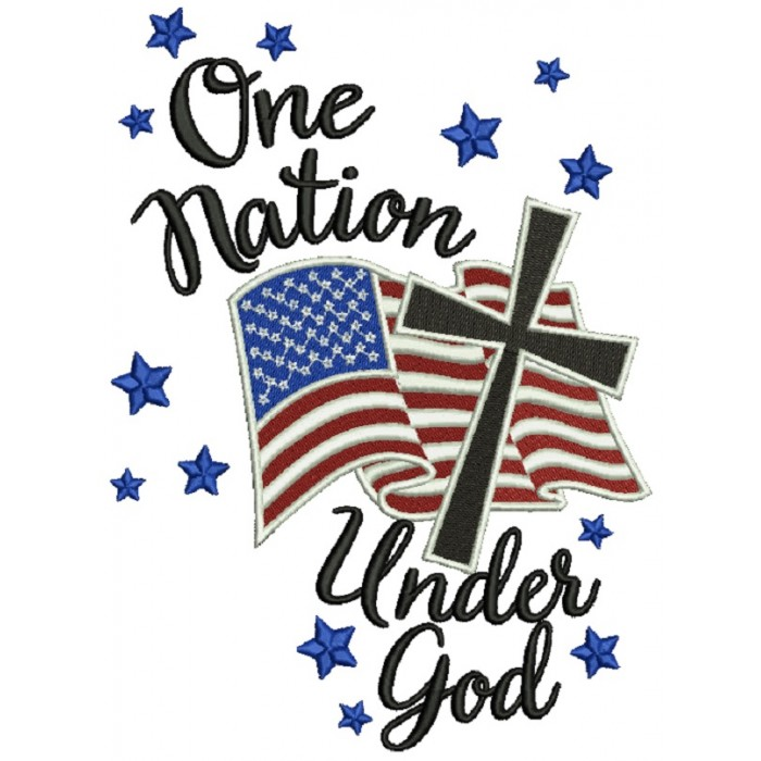 One Nation Under God American Flag With Cross Patriotic Filled Machine Embroidery Design Digitized Pattern