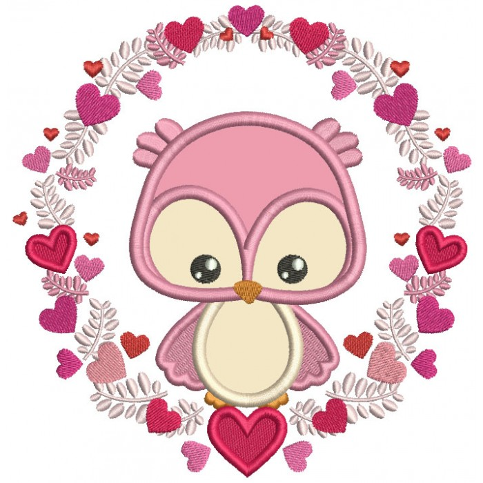 Owl Inside Wreath With Hearts Valentine's Day Applique Machine Embroidery Design Digitized Pattern