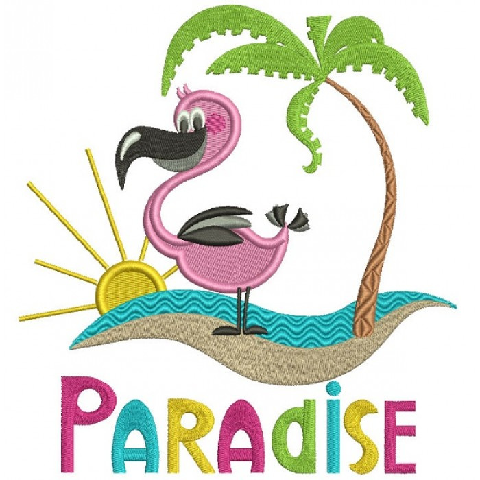 Paradise Flamingo And a Palm Tree Filled Machine Embroidery Design Digitized Pattern