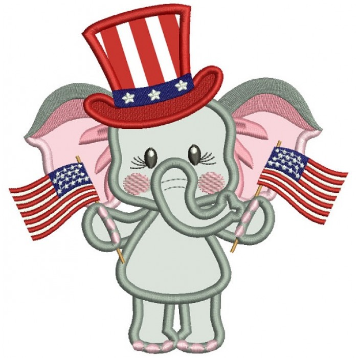 Patriotic Elephant Holding USA Flags Applique Machine Embroidery Design Digitized Pattern