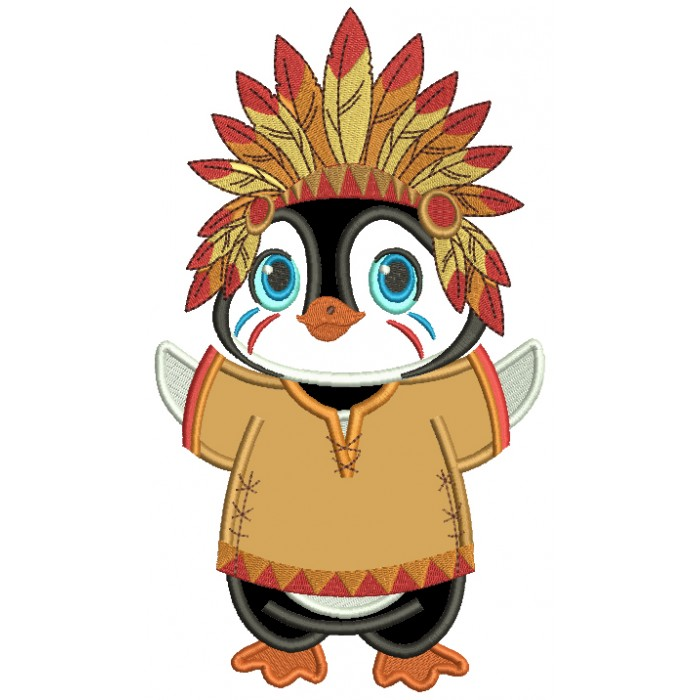 Penguin Indian Wearing Hat With Feathers Thanksgiving Applique Machine Embroidery Design Digitized Pattern