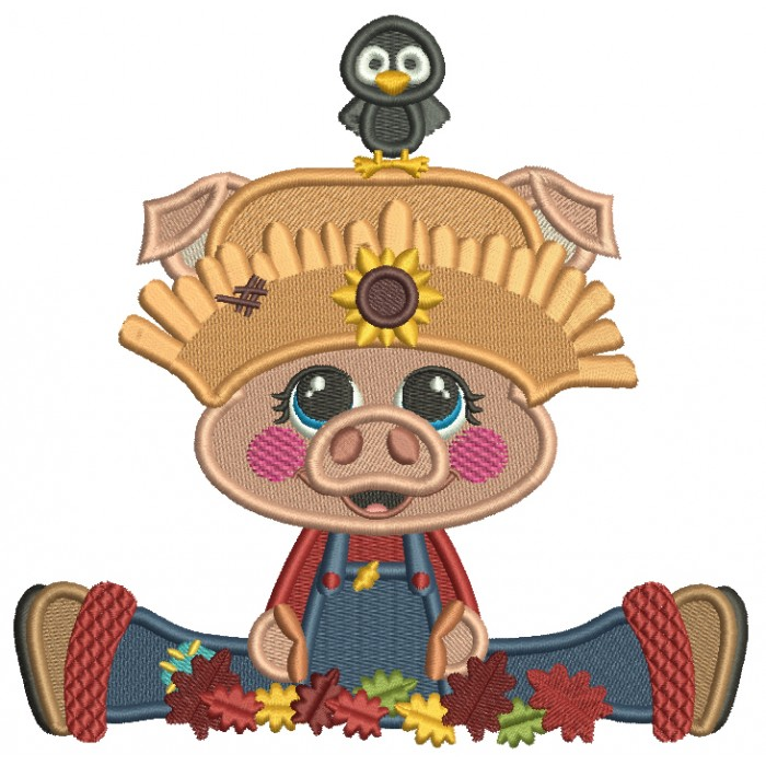 Piggy Farmer Leaves and a Little Bird Filled Machine Embroidery Design Digitized Pattern