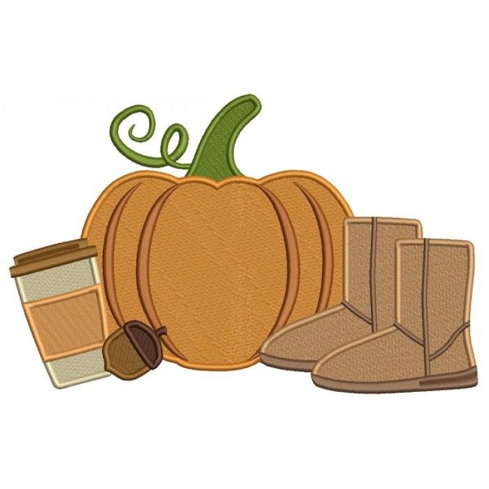 Pumpkin Coffee And Boots Fall Thanksgiving Filled Machine Embroidery Design Digitized Pattern