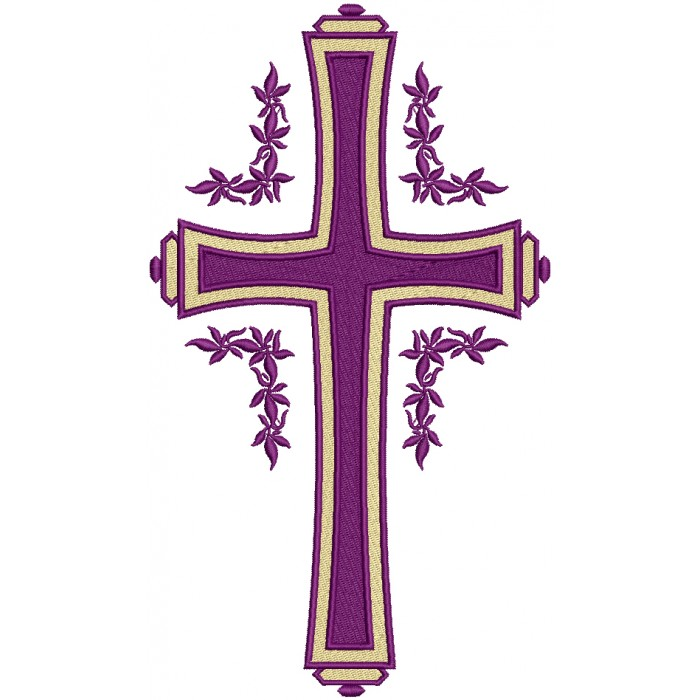 Purple Cross With Flowers Religious Filled Machine Embroidery Design Digitized Pattern