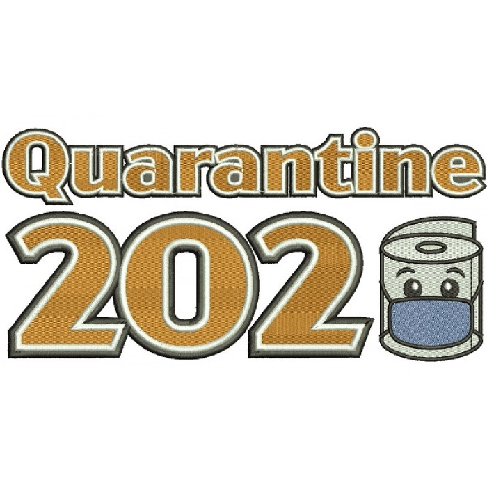 Quarantine 2020 Toilet Paper Wearing a Face Mask Filled Machine Embroidery Design Digitized Pattern