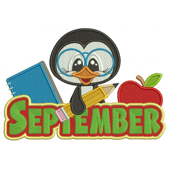 September Penguin Holding a Pencil School Filled Machine Embroidery Design Digitized Pattern