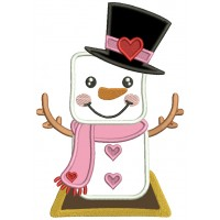 Snowman Wearing a Tall Hat With Heart Valentine's Day Applique Machine Embroidery Design Digitized Pattern