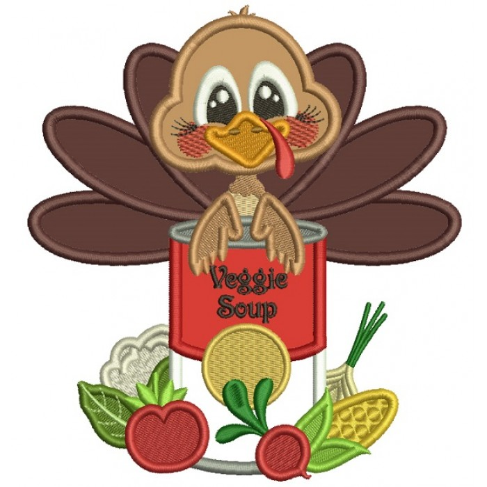 Turkey Holding Can Of Veggie Soup Thanksgiving Applique Machine Embroidery Design Digitized Pattern