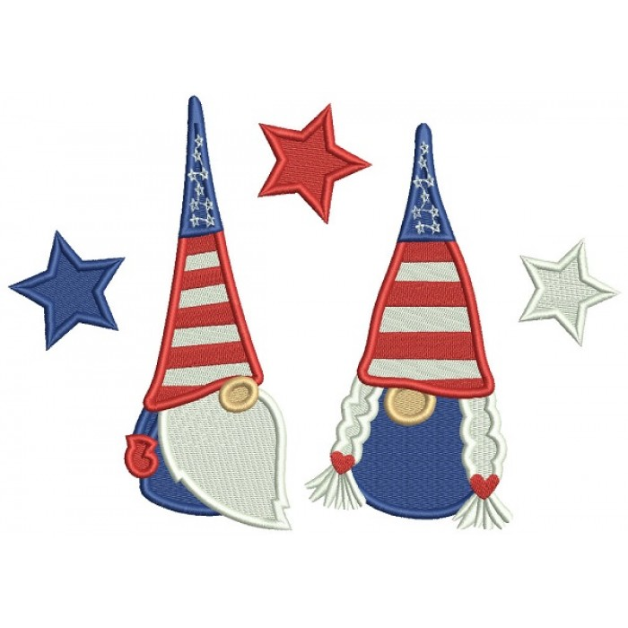 Two Gnomes Wearing American Hats 4th Of July Patriotic Filled Machine Embroidery Digitized Design Pattern