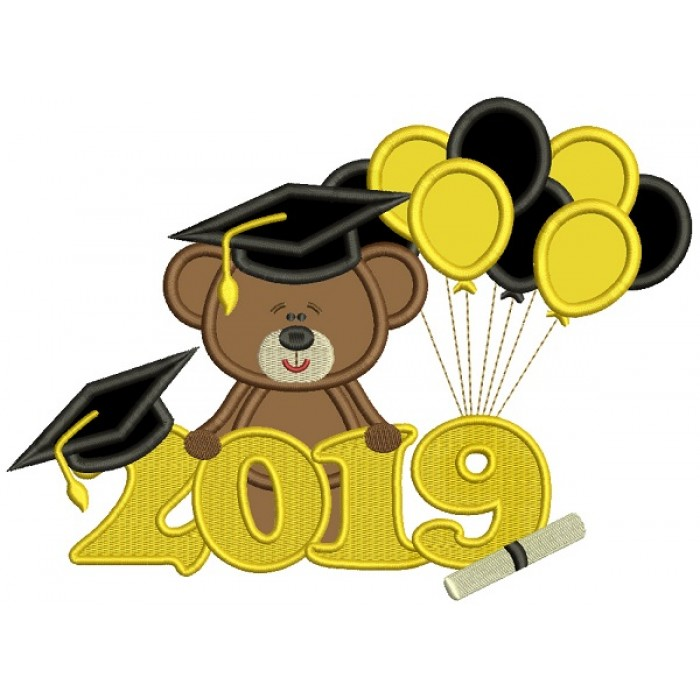 2019 Graduation Bear With Balloons Applique Machine Embroidery Design Digitized Pattern