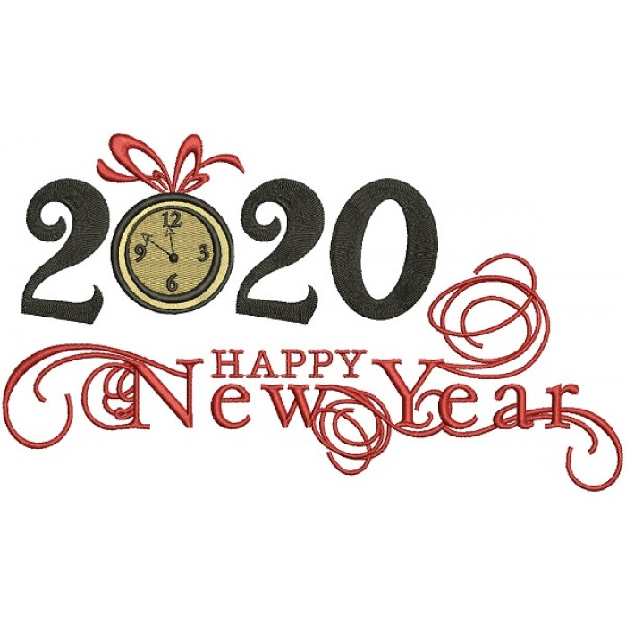 2020 Happy New Year Filled Machine Embroidery Design Digitized Pattern