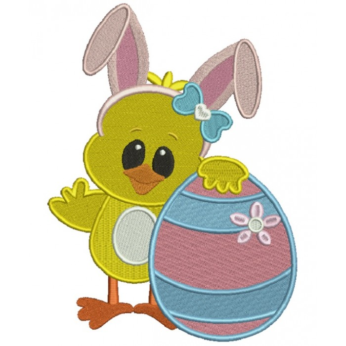 Baby Chick Holding Big Easter Egg Filled Machine Embroidery Design Digitized Pattern