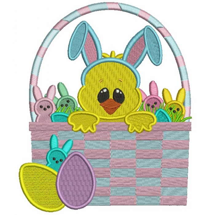 Baby Chick Sitting Inside a Big Easter Basket Filled Machine Embroidery Design Digitized Pattern