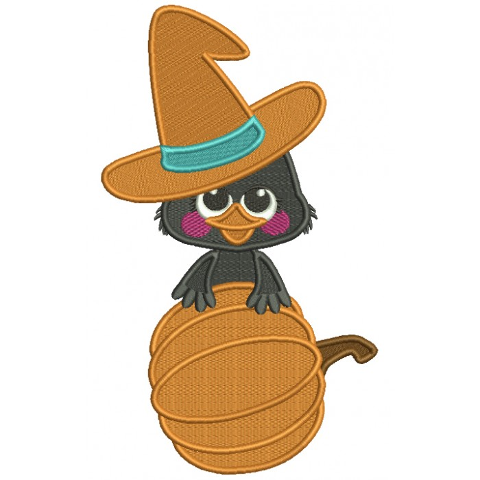 Baby Crow With Big Hat Holding Pumpkin Fall Thanksgiving Filled Machine Embroidery Design Digitized Pattern
