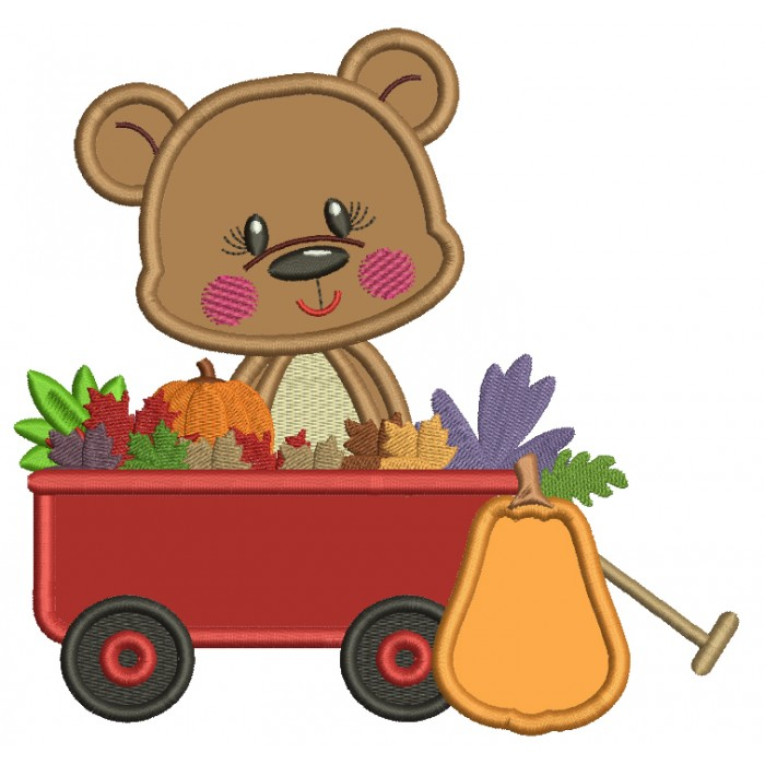 Bear Sitting Inside A Wagon With Pumpkins And Leaves Thanksgiving Applique Machine Embroidery Design Digitized Pattern