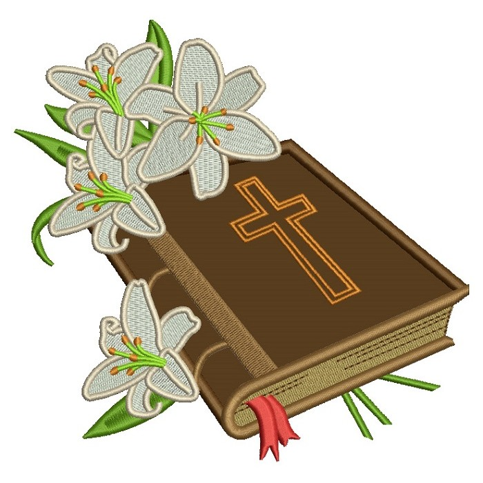Bible With Beautiful Flowers Religious Applique Machine Embroidery Design Digitized Pattern